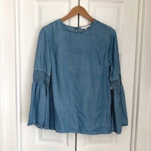 Tops - Chambray bell sleeve blouse